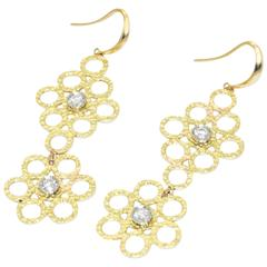 DORIA 0.24 Carats Diamonds Yellow Gold Platinum Earrings