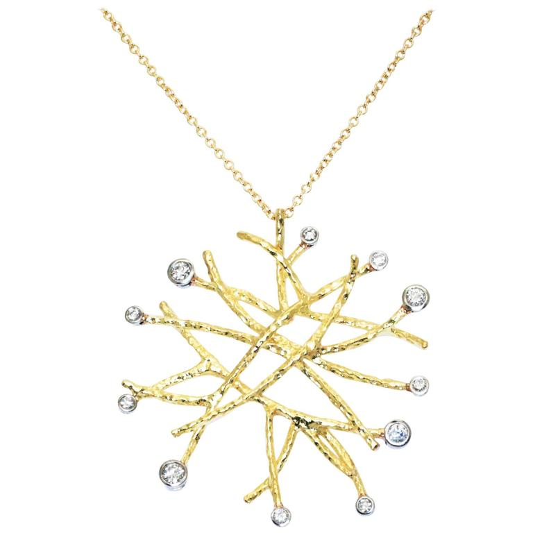 Doria 0.52 Carat Diamonds in 18 Karat Yellow Gold and Platinum Necklace Pendant