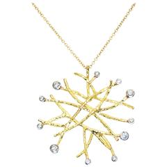 Doria 0.52 Carat Diamonds in 18 Karat Yellow Gold and Platinum Necklace Pendant