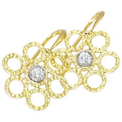 Doria 0.12 Carat Diamonds in 18 Karat Yellow Gold and Platinum Earrings