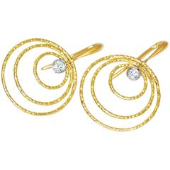 Doria 0.12 Carat White Diamond 18 Karat Yellow Gold and Platinum Earrings