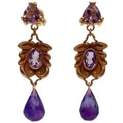 Marina J. Amethyst Rose Gold Drop Earrings