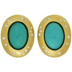 Tiffany & Co. Angela Cummings Diamond Turquoise Yellow Gold Clip-On Earrings