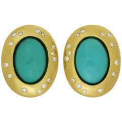 Tiffany & Co. Angela Cummings Diamond Turquoise Yellow Gold Clip-On Earrings