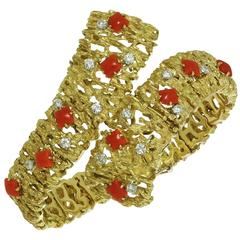 1970s Oxblood Coral Diamond Yellow Gold Bracelet