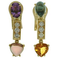 Bvlgari Allegra Multi-Color Gemstone Diamond Yellow Gold Earrings