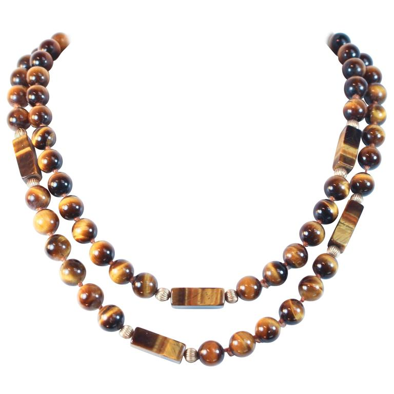 Tiger's Eye Gold Bead Necklace