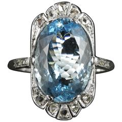 Antique Edwardian Aquamarine Rose Cut Diamond White Gold Ring