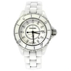 Chanel Ladies Ceramic Diamond Dot J51 15566 Wristwatch