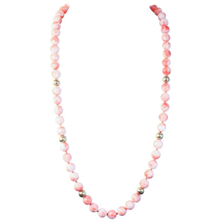 Angel Skin Coral Large Gold Bead Necklace For Sale