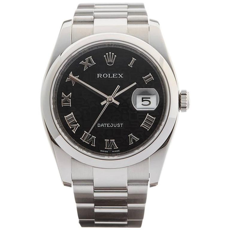 Rolex Stainless Steel Datejust Automatic Wristwatch Model 116200