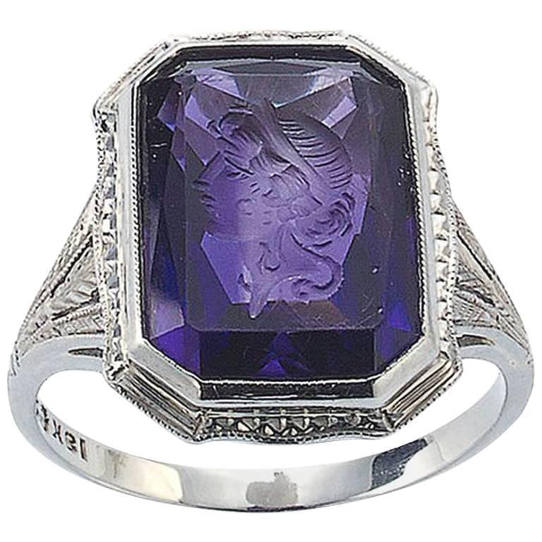 Amethyst Intaglio and Diamond in 18ct White Gold Ring For Sale