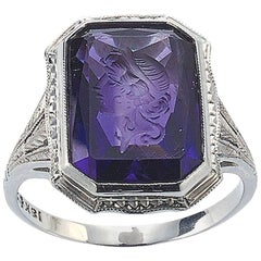 Amethyst Intaglio and Diamond in 18ct White Gold Ring