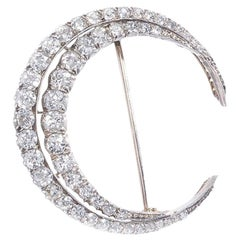 Victorian Diamond Crescent Brooch