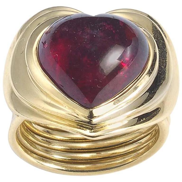 Pink Tourmaline Gold Heart Ring