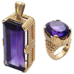Amethyst Yellow Gold Pendant and Ring Suite