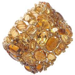 Citrine Tourmaline Gold Bracelet