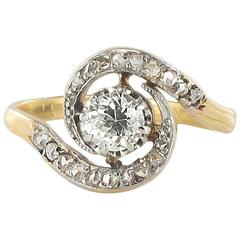 1920s French Antique Diamond Gold Platinum Whirl Ring