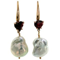 Pearl Heart Garnet Gold Earrings