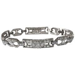 Art Deco 4.5 Carat Diamond Platinum Link Bracelet