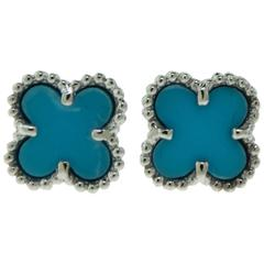 Van Cleef & Arpels Turquoise Sweet Alhambra White Gold Earstuds