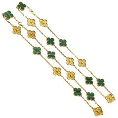 Van Cleef & Arpels Vintage Alhambra Set of Two Malachite Yellow Gold Necklaces