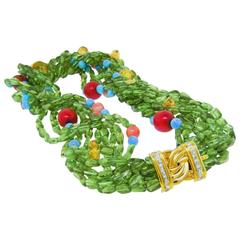 Multi-Strand Peridot Coral Citrine Turquoise Diamond Gold Necklace