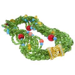 Danuta Multi-Strand Peridot Coral Citrine Turquoise Diamond Gold Necklace