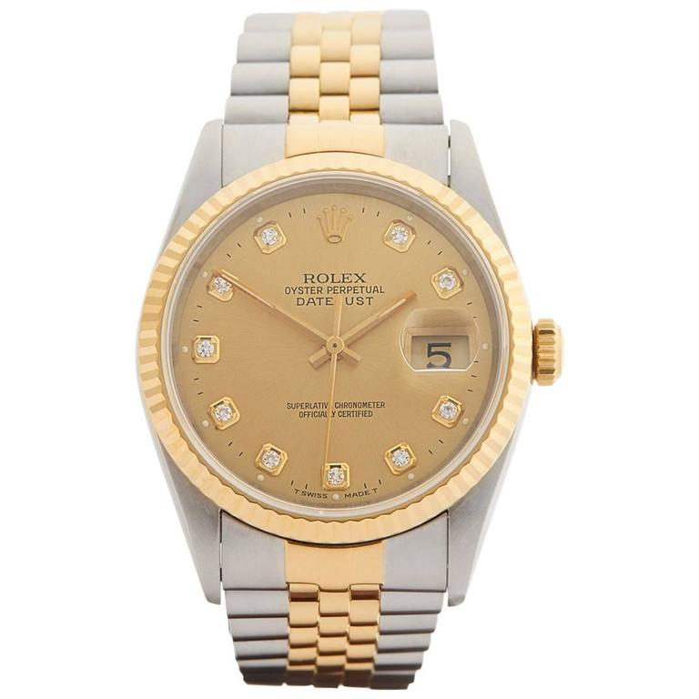 Rolex Yellow Gold Stainless Steel Datejust Diamond Dial Automatic Wristwatch 1