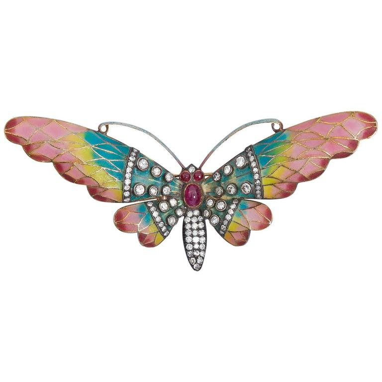 Plique-a-jour Butterfly Diamond Ruby Enamel Brooch