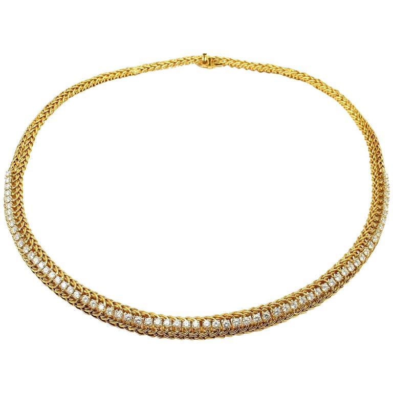 Vintage Hammerman Brothers 4 Carat Diamond Weave Yellow Gold Necklace