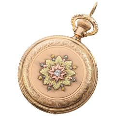 1886 14 Karat Gold Diamond Ladies Pocket Watch Pendant