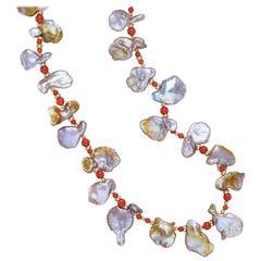 Naomi Sarna Cornflake Pearl Coral Gold Necklace