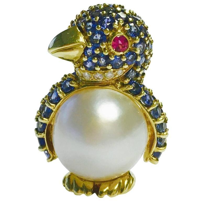 Jean Vitau Gemstone Gold Penguin Brooch