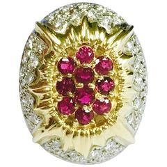 Ruby Diamond Yellow Gold Platinum Sunburst Ring