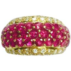 Ruby Diamond Yellow Gold Wide Band Ring