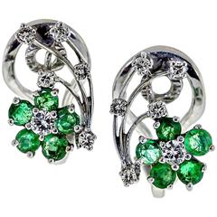 Vintage Emerald Diamond and White Gold Floral Earclips