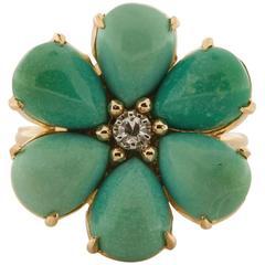 1950s Turquoise Diamond Gold Flower Ring