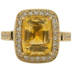 GIA Certified 5.60 Carat Yellow Sapphire Diamond Gold Cocktail Ring