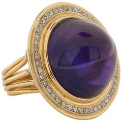 1960s 30.00 Carat Amethyst Diamond Gold Ring
