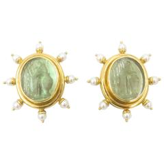 Elizabeth Locke Venetian Glass Pearl Mother-of-Pearl Gold Earrings