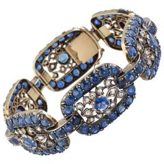 Antique Vivid Ceylon Sapphire and Diamond Bracelet