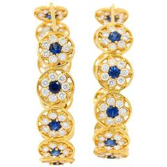 Buddha Mama Sapphire Diamond Gold Continuous Flower Hoop Earrings