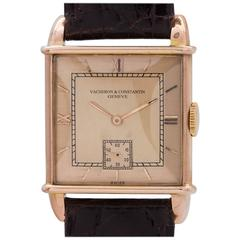 Vacheron & Constantin Pink Gold Manual Wind Dress Wristwatch circa 1940