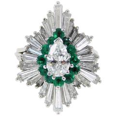 1970s Emerald Diamond white gold Ballerina Ring