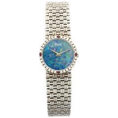 Piaget Ladies White Gold Diamond Ruby Opal Bracelet Mechanical Wind Wristwatch