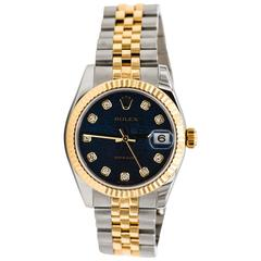 Rolex Ladies Yellow Gold Stainless Steel Blue Diamond Dial Automatic Wristwatch