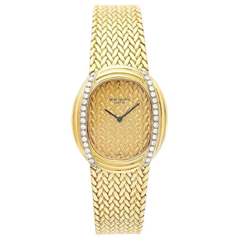 Patek Philippe Ladies Yellow Gold Diamond Woven Link Mechanical Wristwatch