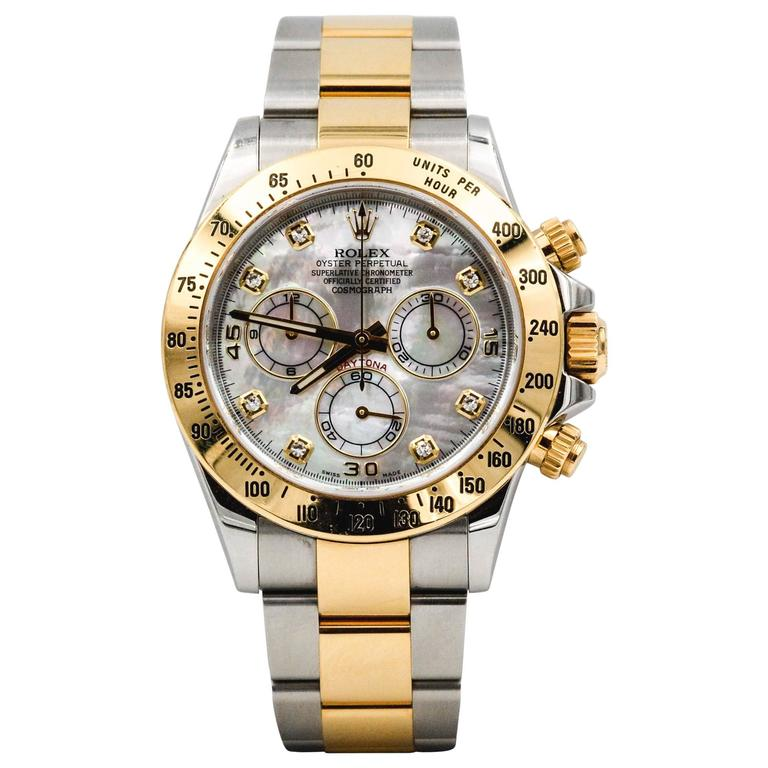 Rolex Yellow Gold Stainless Steel Daytona Mechanical Wristwatch  For Sale