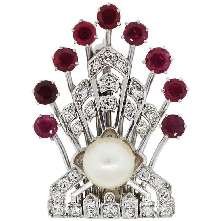 Platinum 0.40 Carats Diamonds 1.50 Carats Rubies Pearl Platinum Pin